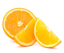 Orange fruit half and two segments or cantles Stock Photos