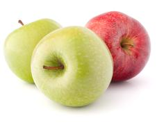 red and green apple - stock photo