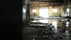 Abandoned Factory Reveal Blight Industrial Detroit Urban Decay Empty Ghetto - stock footage