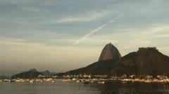 Sugarloaf, Urca Hill and Boats in Botafogo Bay, Rio de Janeiro, Brazil. Stock Footage