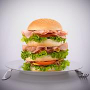 fast food big sandwich  on plate - stock photo