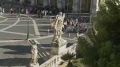 Piazza del Campidoglio statues in Rome (slomo dolly) Stock Footage