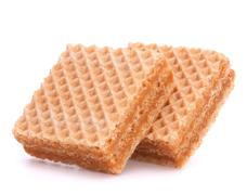 wafers or honeycomb waffles - stock photo
