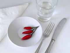 Plate of chili's Stock Photos