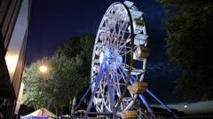 Large Ferris Wheel, Night, Stock Footage