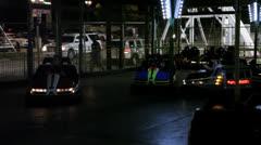 Bumper cars, At Night, Amusement Park Stock Footage