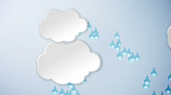 Clouds and rain and sun. Cartoon. Stock Footage