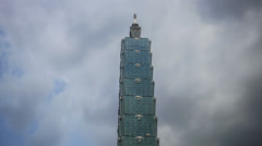 Stock Video Footage of Taipei 101 tower clouds time lapse