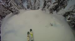 POV Ski Crash Through The Trees - stock footage