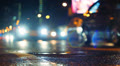 Night city traffic, shallow DOF, focus on foreground, Moscow. Footage