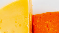Fresh dairy product : gourmet cheese triangles Stock Footage