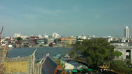 Stock Video Footage of Bangkok, View from Wat Arun, Thailand