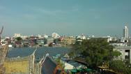 Bangkok, View from Wat Arun, Thailand Stock Footage