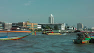 Stock Video Footage of Bangkok, Chaya Praya River Boat traffic, Thailand