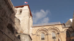 Via Dolorosa The Church of the Holy Sepulchre - ladder.mp4 Stock Footage