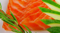 Fresh smoked salmon fillet with pesto sauce Stock Footage
