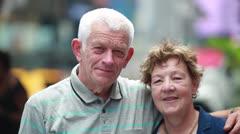 Senior caucasian couple smiling faces - stock footage