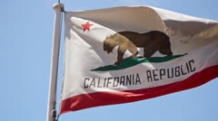 California Republic Flag Waving In Slow Motion Stock Footage