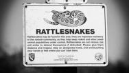 Stock Video Footage of Vintage Rattlesnake Sign
