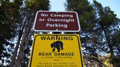Yosemite Bear Warning Sign Tilt Stock Footage
