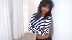 African American girl with striped shirt - stock footage
