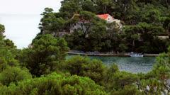 Panorama of big lake on island Mljet  Stock Footage