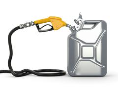 gas pump nozzle and fuel can on white background - stock illustration