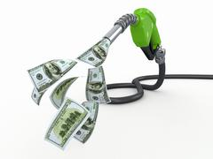 gas pump nozzle and dollar on white background - stock illustration