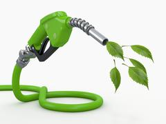 green conservation. gas pump nozzle and leaf - stock illustration
