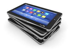 group of tablet pc on white isolated background. 3d - stock illustration
