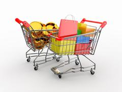 Consumerism. purchase of goods for money. shopping cart with boxes and coins. 3d Stock Illustration