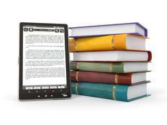 e-book reader. books and tablet pc. 3d - stock illustration