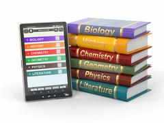 Stock Illustration of e-book reader. textbooks and tablet pc. 3d