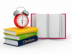 time to school. textbook and alarm clock. 3d - stock illustration