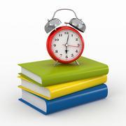 time for school. alarm clock on books. 3d - stock illustration