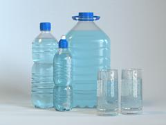many bottles and glass of clear water. 3d - stock illustration