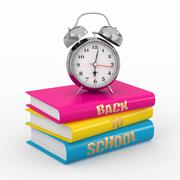Back to school. alarm clock on books. 3d Stock Illustration