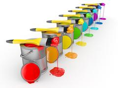 paint can and paintbrush in colors of the rainbow. 3d - stock illustration