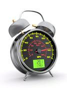 Speeding. speedometer as alarm clock face. 3d Stock Illustration
