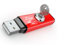 Stock Illustration of data security. information protection. usb flash memory and key. 3d