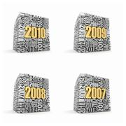 new year 2010, 2009, 2008, 2007. cube consisting of the numbers. 3d - stock illustration