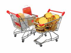 consumerism. purchase of goods for money. shopping cart with boxes and coins. 3d - stock illustration