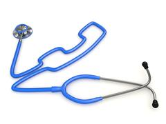 Stethoscope and a silhouette of phone. 3d Stock Illustration