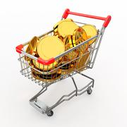 Shopping cart full of coins on white background. 3d Stock Illustration