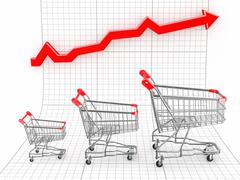 Stock Illustration of sales growth. shopping basket and graph. 3d