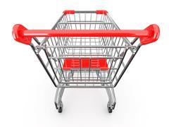 empty shopping basket on white background. 3d - stock illustration