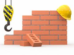 Under construction. brick wall, crane and hardhat. 3d Stock Illustration