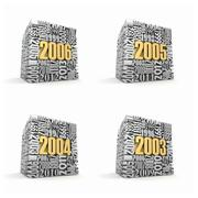 Stock Illustration of new year 2006, 2005, 2004, 2003. cube consisting of the numbers. 3d