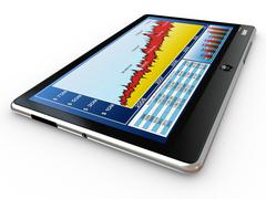 Tablet pc and business graph on the screen. 3d Stock Illustration