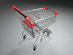 empty shopping basket on grey background. 3d - stock illustration